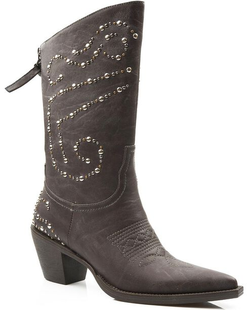 Roper Studded Zipper Cowgirl Boots - Pointed Toe, Brown, hi-res