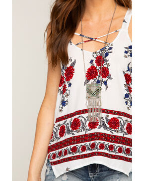 Shyanne Women's Jade Sea Festival Chain Fringe Necklace, Silver, hi-res