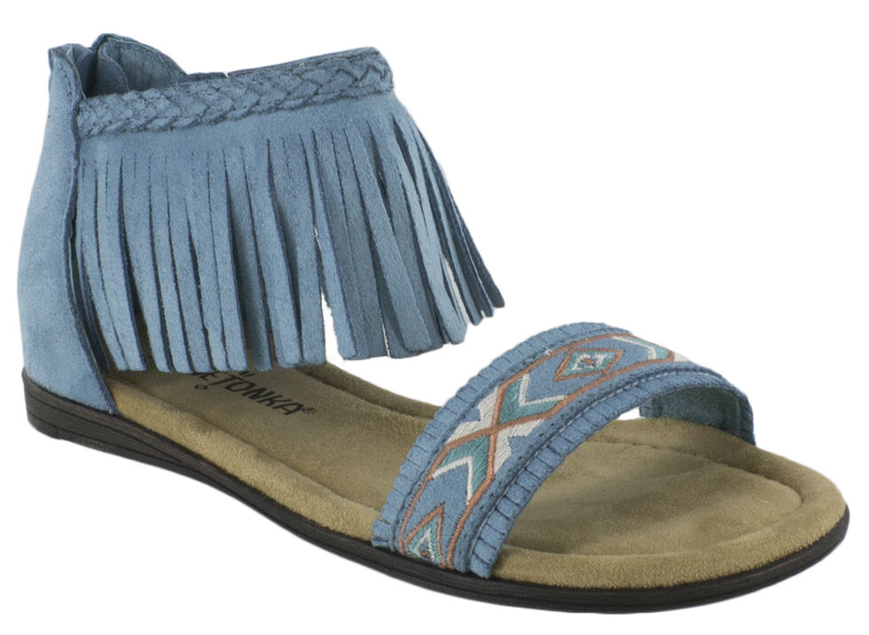 Minnetonka Girls' Coco Sandals, Turquoise, hi-res