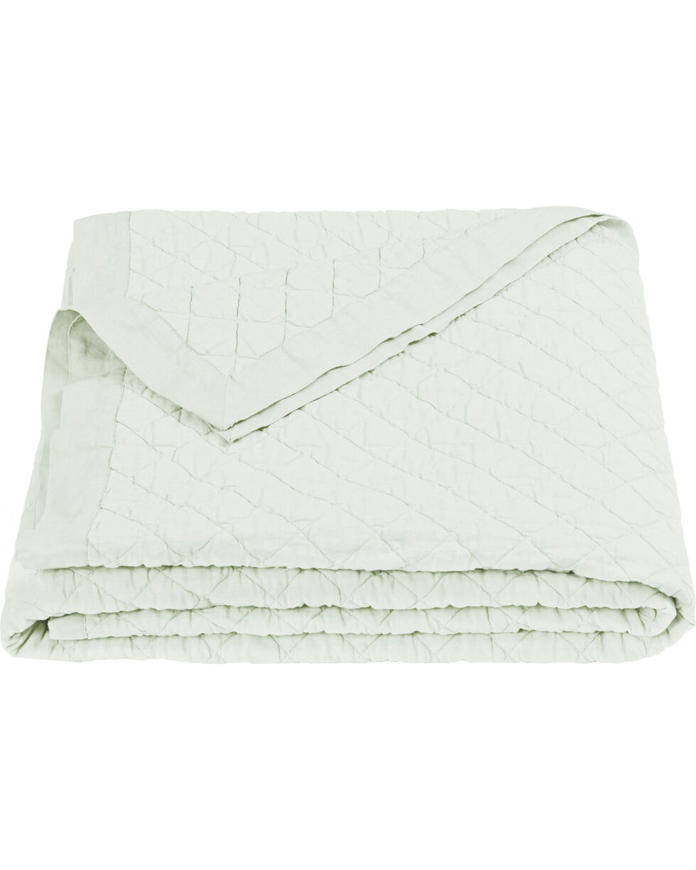 HiEnd Accents Diamond Pattern Seafoam Linen Full/Queen Quilt, Green, hi-res