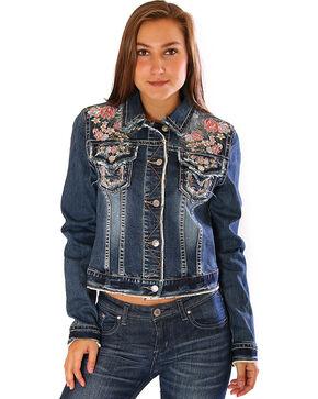 Grace in LA Women's Embroidered Jean Jacket, Indigo, hi-res