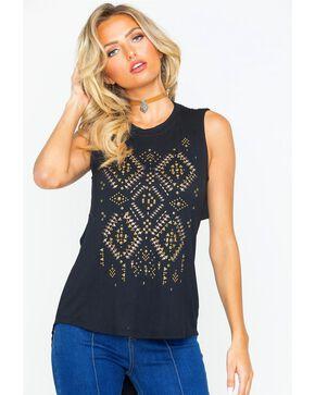 Miss Me Women's Aztec Sequin Sleeveless Top , Black, hi-res