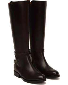 Frye Women's Dark Brown Jordan Strap Boots - Round Toe , Dark Brown, hi-res