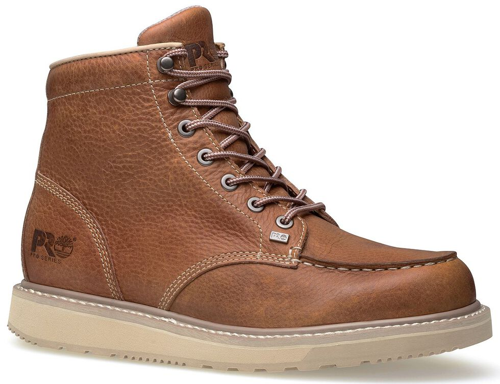 """Timberland Pro Barstow 6"""" Lace-Up Wedge Work Boots - Round Toe, Rust, hi-res"""