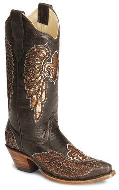 Corral Fleur-De-Lis Inlay Distressed Cowgirl Boot - Snip Toe, Brown, hi-res