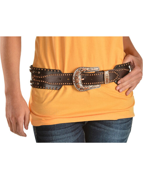 Angel Ranch Women's Studded Leather Belt, Brown, hi-res