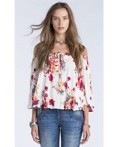 Miss Me Women's Cream Floral Print Off Shoulder Top, Cream, hi-res