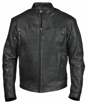 Interstate Leather Men's Beretta Leather Riding Jacket - 2XL-3XL, Black, hi-res