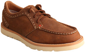 Twisted X Men's Oiled Saddle Casual Lace-Up Shoes - Moc Toe , Brown, hi-res