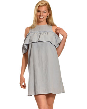 Polagram Women's Cold Shoulder Ruffle Dress , Blue, hi-res