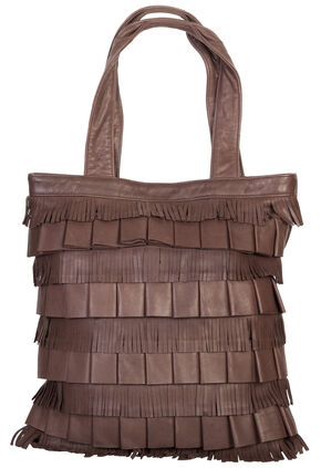 Scully Layered Fringe Leather Tote, Brown, hi-res