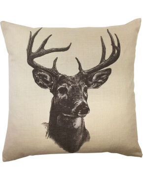 HiEnd Accents Whitetail Deer Print Linen Pillow, Multi, hi-res