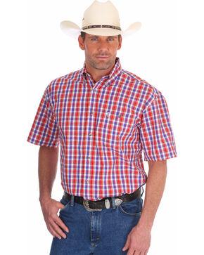 Wrangler Men's Red George Strait Patriotic Plaid Short Sleeve Shirt , Red, hi-res