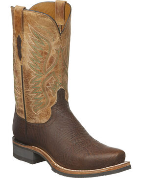 Lucchese Men's Cooper Brown Bull Shoulder Western Boots - Square Toe, Brown, hi-res