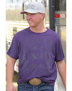 Cinch Men's Purple Short Sleeve Heathered Jersey Tee , Purple, hi-res