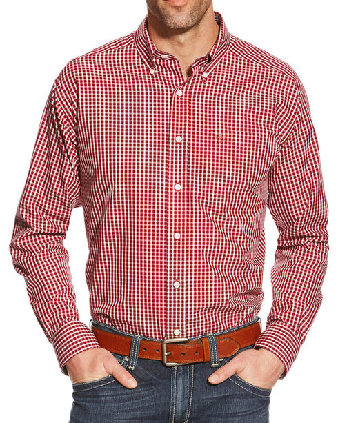 Ariat Men's Zach Wrinkle Free Long Sleeve Shirt, Red, hi-res