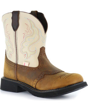 Justin Gypsy Women's Two Tone Short Cowgirl Boots - Round Toe, Brown, hi-res