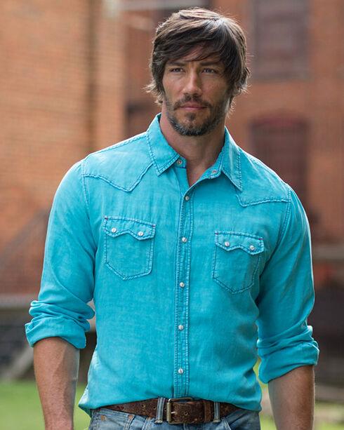 Ryan Michael Men's Neon Blue Saw Tooth Silk Linen Shirt, Blue, hi-res