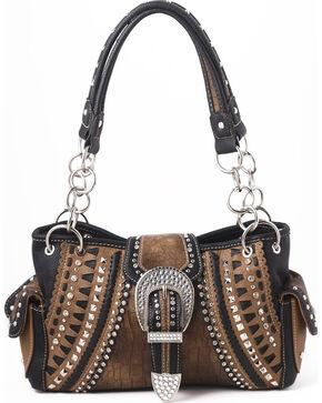 Shyanne Women's Buckle Double Chain Whipstitch Bag - Café, Brown, hi-res