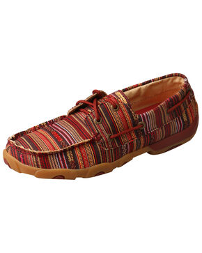 Twisted X Women's Serape Driving Moccasin Shoes - Moc Toe, Red, hi-res