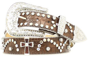 Nocona Cross Concho Studded Leather Belt, Brown, hi-res