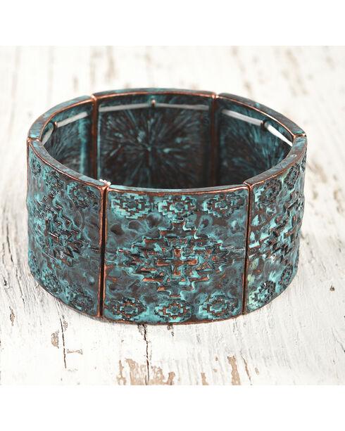 Shyanne Women's Patina Aztec Print Stretch Bracelet, Turquoise, hi-res