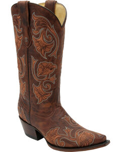 Corral Women's Brown Floral Cowgirl Boots - Snip Toe, Brown, hi-res