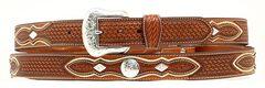 Basketweave Concho Leather Belt, Natural, hi-res