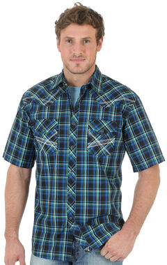 Wrangler 20X Men's Blue & Black Plaid Short Sleeve Shirt, , hi-res