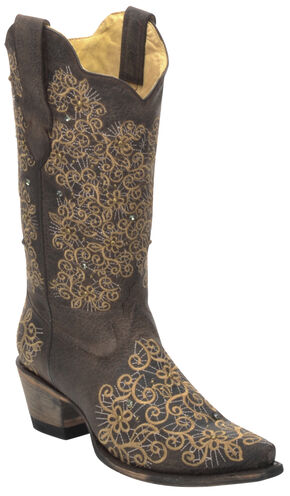 Corral Women's Brown Studded Embroidered Cowgirl Boots - Snip Toe , Brown, hi-res