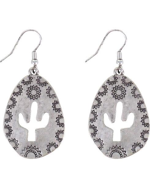 Shyanne Women's Teardrop Cactus Cutout Earrings, Silver, hi-res