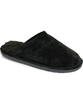 Men's Scuff Leather Slippers, Black, hi-res