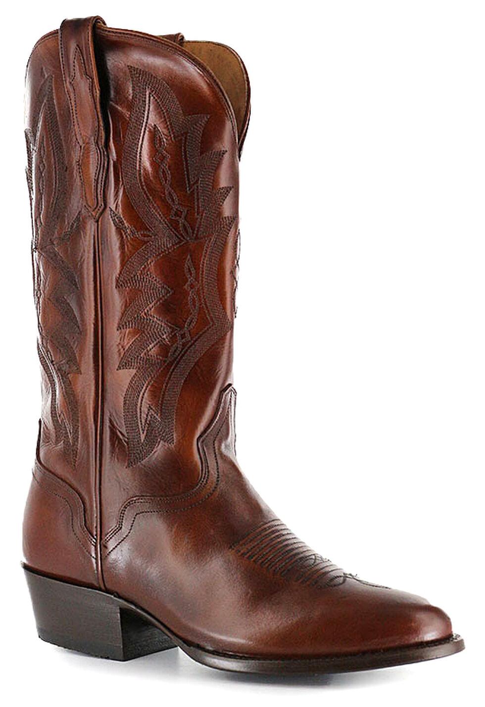 El Dorado Handmade Tan Vanquished Calf Cowboy Boots - Round Toe, Tan, hi-res