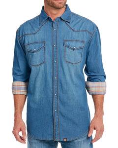 Cowboy Up Men's Thick Stitch Chambray Western Shirt, Indigo, hi-res