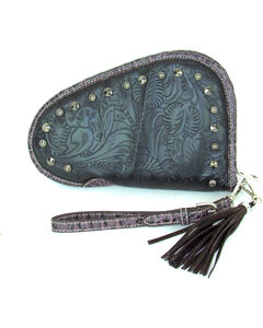 Savana Women's Tooled and Studded Handgun Case , Black, hi-res