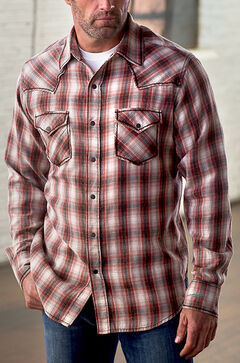 Ryan Michael Men's Vintage Dobby Plaid Shirt, Brick, hi-res