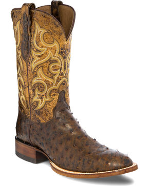 Justin Men's Full Quill Ostrich with Distressed Leather Cowboy Boots - Round Toe, Chocolate, hi-res