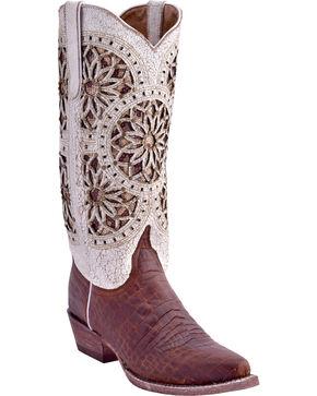 Ferrini Women's Crocodile Belly Print Western Boots - Snip Toe, Chocolate, hi-res