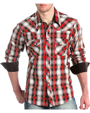 Panhandle Men's Black and Red Plaid Snap Shirt, Red, hi-res