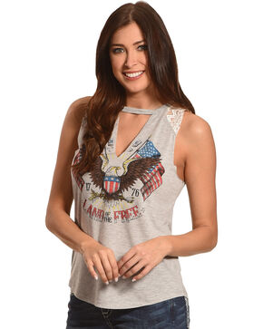 Other Follow Women's Land of the Free Eagle Tank, Heather Grey, hi-res