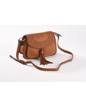 Wear N.E. Wear Women's Brown with Gold Studs Tassel Shoulder Bag, Brown, hi-res