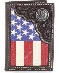 Cody James Men's American Flag Tri-Fold Wallet , Tan, hi-res