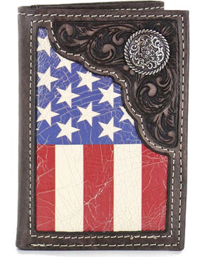 Cody James Men's American Flag Tri-Fold Wallet , Tan, hi-res