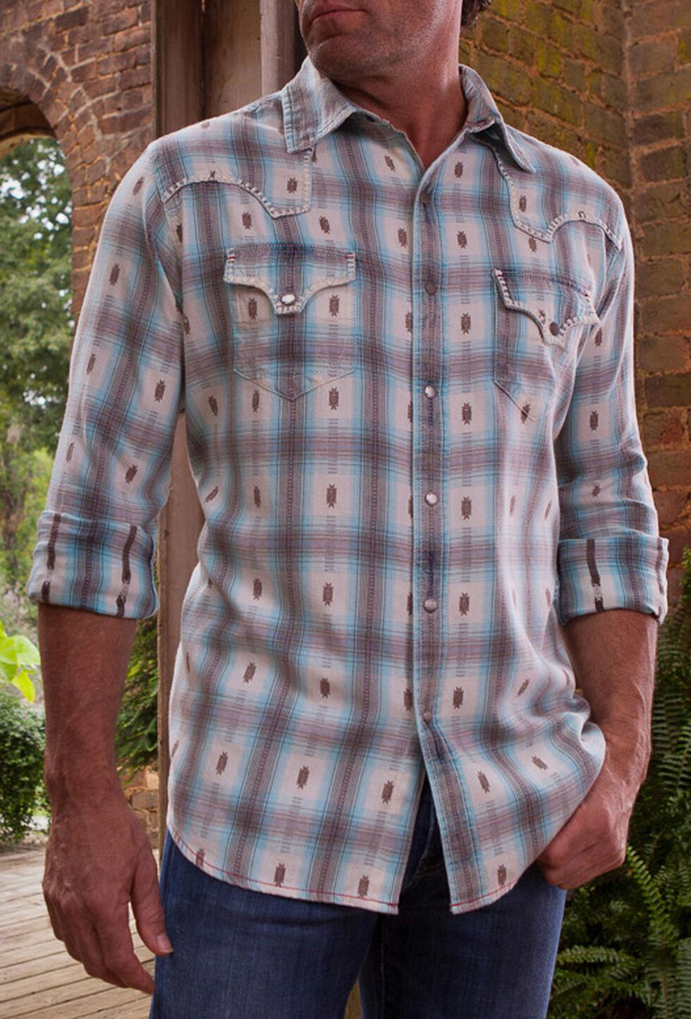 Ryan Michael Men's Blue Ombre Plaid Western Shirt, Med Blue, hi-res