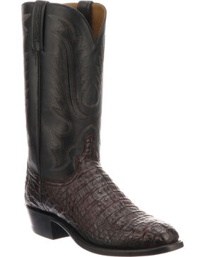 Lucchese Men's Handmade Walter Black Cherry Hornback Caiman Western Boots - Round Toe, Black Cherry, hi-res
