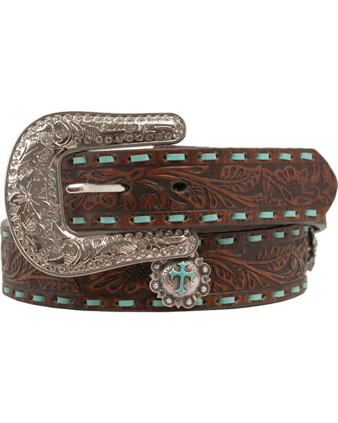Nocona Embellished Turquoise Cross Concho Belt, Brown, hi-res