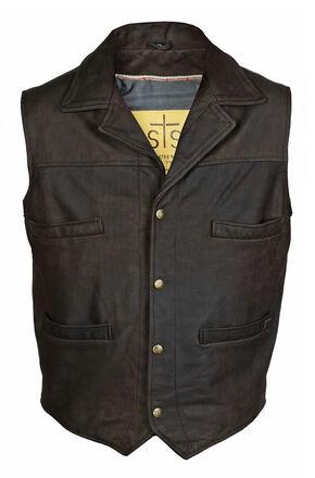 STS Ranchwear Men's Leather Ace Vest, Brown, hi-res