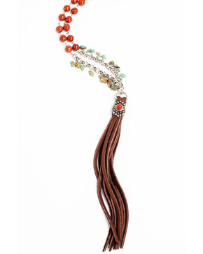 Cowgirl Confetti Women's Brown Fringe Guardian Necklace , Brown, hi-res