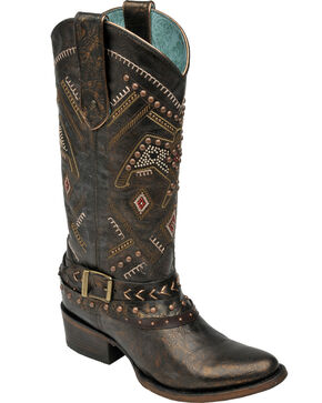 Corral Women's Copper Thunderbird Studded Harness Boots - Round Toe, Copper, hi-res