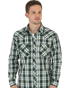 Wrangler 20X Men's Olive & White Plaid Shirt, Olive, hi-res